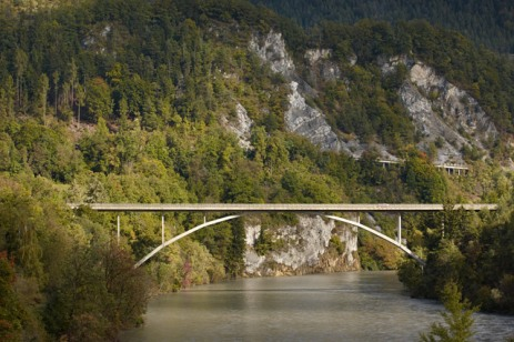 The elegant design of the 158m-long Bridge over the Rhine in Tamins (1963) is somewhat harmoniously integrated into the surrounding natural environment [© Ralph Feiner]